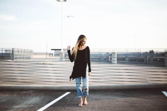 woman in parking garage